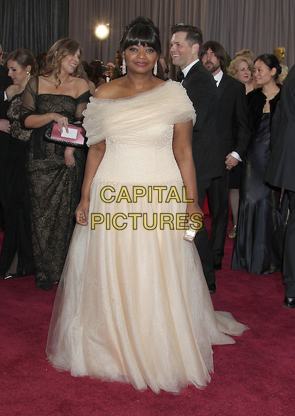Octavia Spencer.85th Annual Academy Awards held at the Dolby Theatre at Hollywood & Highland Center, Hollywood, California, USA..February 24th, 2013.oscars full length white tulle off the shoulder dress clutch bag.CAP/ADM/RE.©Russ Elliot/AdMedia/Capital Pictures.