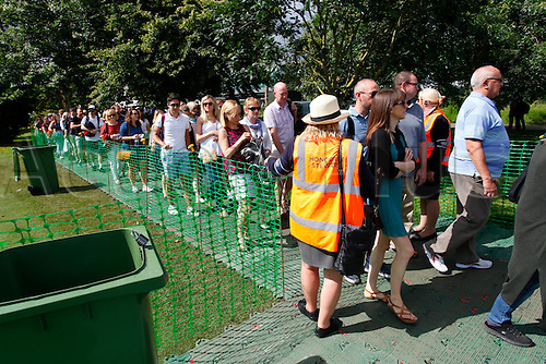 03.07.2016. All England Lawn Tennis and Croquet Club, London, England. The Wimbledon Tennis Championships Middle Sunday.  Large queues for security checks at the All-England Club, Wimbledon before play starts on middle Sunday.