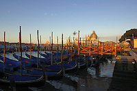 Early morning sun shinning on the scaffolded dome of Santa maria della Salute, with gondolas in the forefront.