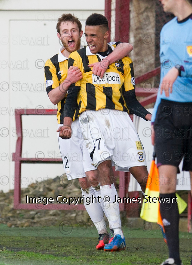 East Fife's Nathan Austin (7) celebrates with  Scott Durie (2) after he scores their second goal.