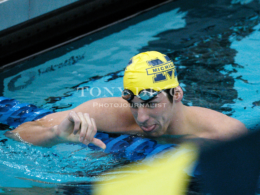 Michael Phelps during the Wolverines' win over Indiana on Saturday, January 22, 2005 at Canham Natatorium in Ann Arbor, Mich. (Photo by TONY DING/The Michigan Daily)