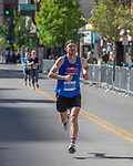 Rob Lugg, the men's marathon winner, heads toward the finish line in the Downtown River Run on Sunday, April 30, 2017 in Reno, Nevada.