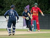 Cricket Scotland - Scotland V Zimbabwe One Day International match at Grange CC today (Thur) - this match is the second of two ODI matches this week against Zimbabwe, and Scotland won the first encounter, on Thursday, by 26 runs - Scotland's Michael Leask and Chris Sole make runs in front of Zimbabwe keeper Peter Moor - picture by Donald MacLeod - 17.06.2017 - 07702 319 738 - clanmacleod@btinternet.com - www.donald-macleod.com