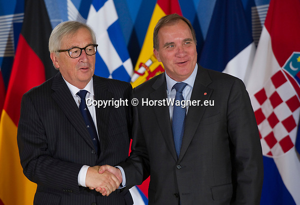 Belgium, Brussels - June 24, 2018 -- Informal working meeting on migration and asylum issues convened by Jean-Claude JUNCKER (le), President of the European Commission, here welcoming Stefan LÖFVEN (Loefven) (ri), Prime Minister of Sweden -- Photo © HorstWagner.eu