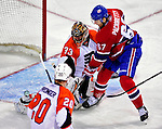 7 December 2009: Philadelphia Flyers' goaltender Brian Boucher makes a first period save on Montreal Canadiens left wing forward Max Pacioretty at the Bell Centre in Montreal, Quebec, Canada. The Canadiens defeated the Flyers 3-1. Mandatory Credit: Ed Wolfstein Photo