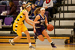 SIOUX FALLS, SD - DECEMBER 31: Kaely Hummel #12 from the University of Sioux Falls gets a step past Presley O'Farrell #35 from Augustana University during their game Sunday afternoon December 31, 2017 at the Stewart Center in Sioux Falls. (Photo by Dave Eggen/Inertia)