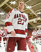 Michael Biega (Harvard - 27) - The Harvard University Crimson defeated the St. Lawrence University Saints 4-3 on senior night Saturday, February 26, 2011, at Bright Hockey Center in Cambridge, Massachusetts.