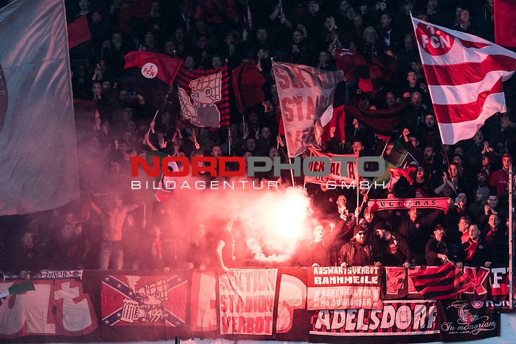 09.02.2019, HDI Arena, Hannover, GER, 1.FBL, Hannover 96 vs 1. FC Nuernberg<br /> <br /> DFL REGULATIONS PROHIBIT ANY USE OF PHOTOGRAPHS AS IMAGE SEQUENCES AND/OR QUASI-VIDEO.<br /> <br /> im Bild / picture shows<br /> Fans von 1. FC Nürnberg zündeln Bengalos / Pyrotechnik,  <br /> <br /> Foto © nordphoto / Ewert