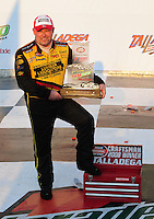Oct 4, 2008; Talladega, AL, USA; NASCAR Craftsman Truck Series driver Todd Bodine after winning the Mountain Dew 250 at the Talladega Superspeedway. Mandatory Credit: Mark J. Rebilas-