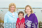 Rosemary Hennebry, Mary Delaney and Niamh Wallace competing in the7 Frogs Triathlon in the Maharees on Saturday.