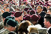 United States President Barack Obama interacts with troops at Fort Bragg, North Carolina, Wednesday, December 14, 2011 after delivering remarks recognizing their service during Operation Iraqi Freedom and Operation New Dawn, as the war in Iraq comes to an end. Ft. Bragg is a platform of readiness that is postured to rapidly respond globally with full spectrum forces that provide sustained joint operational access capability to combatant commanders while remaining dedicated to providing Americaís Soldiers, military families, and civilian employees with the quality of life and vibrant community commensurate with their selfless service..Mandatory Credit: Eric Guzman / DoD via CNP