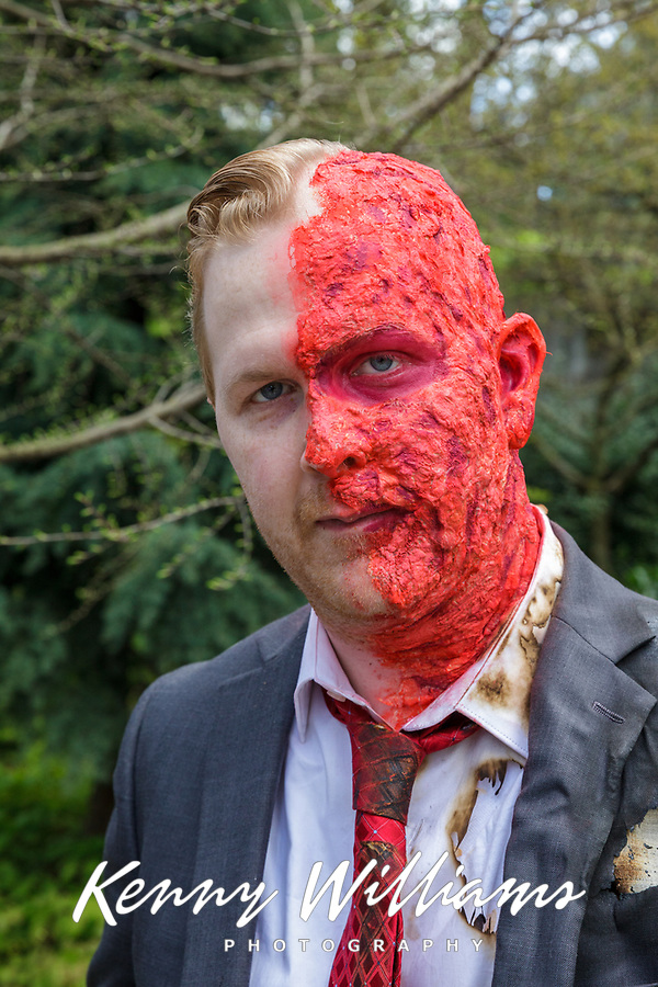 Half Burned Scab Man, Sakura Con 2017, Seattle, Washington, USA.