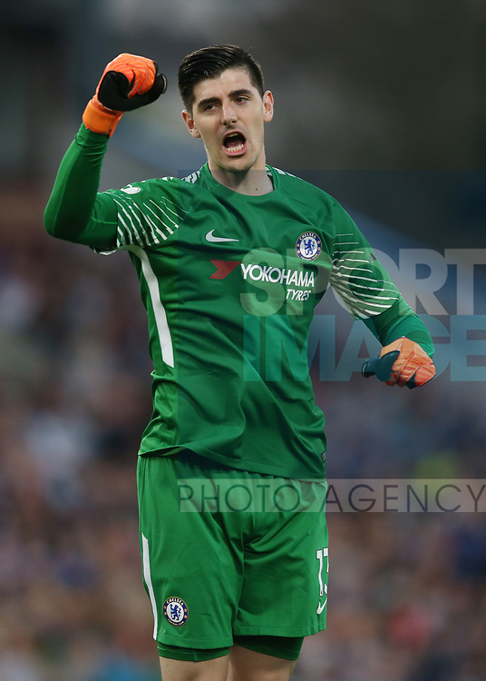 Thibaut Courtois of Chelsea celebrates during the premier league match at the Turf Moor Stadium, Burnley. Picture date 19th April 2018. Picture credit should read: Simon Bellis/Sportimage