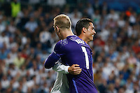 Real Madrid´s Portuguese forward Cristiano Ronaldo<br /> and  Manchester City´s goalkeeper  Joe Hart during the UEFA Champions League match between Real Madrid and Manchester City at the Santiago Bernabeu Stadium in Madrid, Wednesday, May 4, 2016. during the UEFA Champions League match between Real Madrid and Manchester City at the Santiago Bernabeu Stadium in Madrid, Wednesday, May 4, 2016. during the UEFA Champions League match between Real Madrid and Manchester City at the Santiago Bernabeu Stadium in Madrid, Wednesday, May 4, 2016.