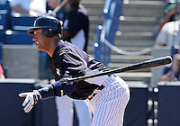 New York Yankees shortstop Derek Jeter #2 tosses his bat during a scrimmage against the USF Bulls at Steinbrenner Field on March 2, 2012 in Tampa, Florida.  New York defeated South Florida 11-0.  (Mike Janes/Four Seam Images)
