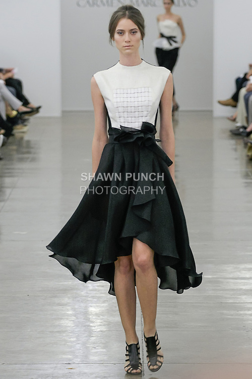 Fabiana walks runway in an outfit from the Carmen Marc Valvo Spring 2013 collection fashion show, during Mercedes-Benz Fashion Week Spring 2013.