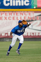 Center fielder Geulin Beltre #2 of the Burlington Royals makes a running catch versus the Pulaski Mariners at Burlington Athletic Park August 6, 2009 in Burlington, North Carolina. (Photo by Brian Westerholt / Four Seam Images)