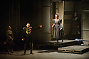"London, UK. 08.03.2016. English Touring Opera presents the rarely performed ""Pia de' Tolomei"", by Gaetano Donizetti, in its UK stage premiere, at the Hackney Empire. Libretto by Salvadore Cammadano. Directed by James Conway, with set & costume design by Loren Elstein and lighting design by Guy Hoare. Picture shows: John-Colyn Gyeantey (Ubaldo), Luciano Botelho (Ghino), Susanna Fairbairn (Bice). Photograph © Jane Hobson."