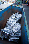 Aluminum in bin at Recycling Center, Los Angeles, California, USA