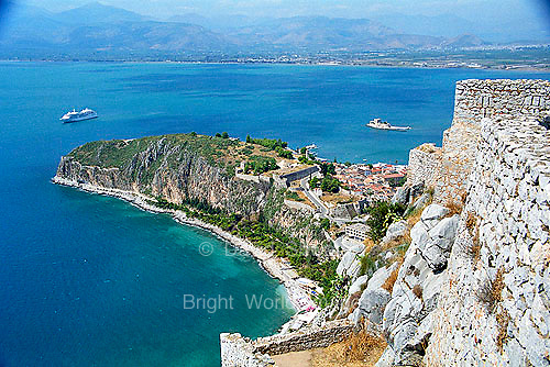 Palamidi fortress castle citadel and Aegean sea in Nafplion on the Peloponnese Greece Europe