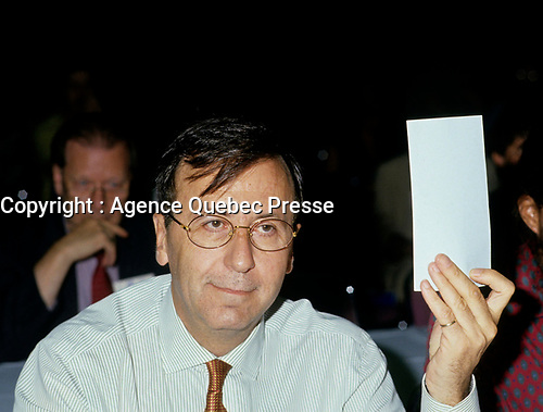 Montreal (QC) CANADA - File Photo - 1993 -<br /> <br /> Andre Boulerice, Parti Quebecois MNA for Sainte-Marie-Saint-Jacques in Montreal.<br /> <br /> <br /> Andr» Boulerice (born May 8, 1946 in Joliette, Quebec) is a Qu»b»cois politician and gay rights activist. He was a member of the National Assembly of Quebec for the riding of Sainte-MarieÛSaint-Jacques in Montreal.<br /> <br /> Born in Joliette, he graduated in specialized education from C»gep du Vieux Montr»al. He joined the Parti Qu»b»cois in 1970 and later worked for the Chambly school board.<br /> <br /> He was elected in the Sainte-MarieÛSaint-Jacques riding in 1989, formerly under Claude Charron. Boulerice was reelected in 1994, 1998 and 2003. He was also the assistant leader in the government, president of the Quebec division of the Assembl»e parlementaire de la Francophonie and Quebec immigration minister. He helped introduce civil union for same-sex couples. Boulerice resigned in September 2005.