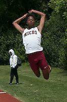 MICDS senior Larenz Taylor jumps 45-0 to win the triple jump at the 2016 MSHSAA Class 4 District 3 Track and Field Meet at Ladue High School. Taylor also won teh long jump with a 21-4.5 mark.