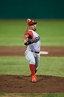 Williamsport Crosscutters relief pitcher Orestes Melendez (17) delivers a pitch during a game against the Batavia Muckdogs on June 22, 2018 at Dwyer Stadium in Batavia, New York.  Williamsport defeated Batavia 9-7.  (Mike Janes/Four Seam Images)
