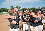 30 MAY 2016: University of Texas-Tyler player Kelsie Batten celebrates with trainer Lexie foster (left) and Vanessa Carrizales and Cheyenne Thompson (right) celebrate winning the Division III Women's Softball Championship held at the James I Moyer Sports Complex in Salem, VA.  University of Texas-Tyler defeated Messiah College 7-0 for the national title. Don Petersen/NCAA Photos