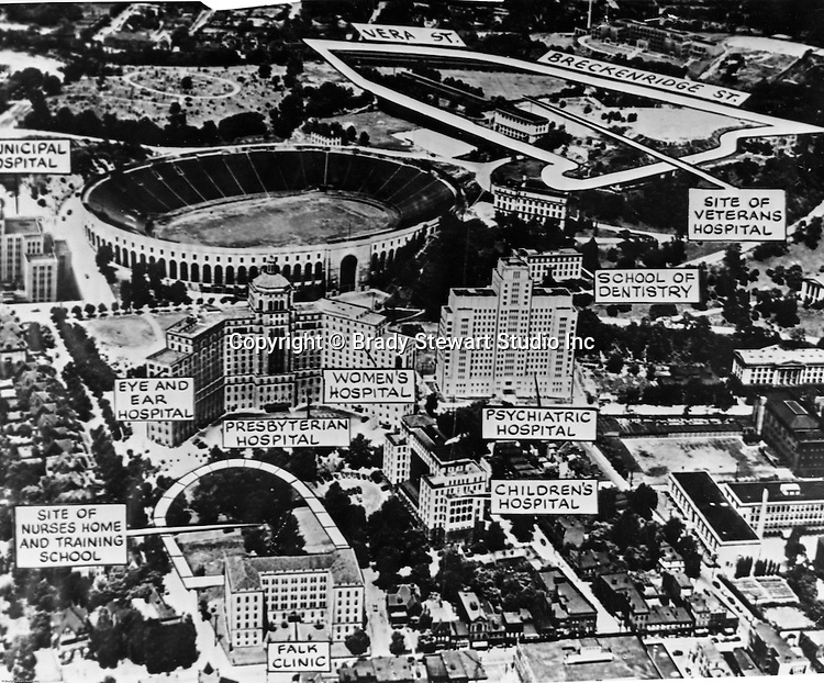 """Pittsburgh PA:  Aerial View of Pitt Stadium, Presbyterian and Children Hospitals with artwork call outs of future development projects - 1952. Brady Stewart studio were responsible for the aerial photography and Ingram Boyd and Pratt were responsible for creating the """"artist's rendering"""" of the area with existing and new projects on the Pitt campus. Ingham, Boyd and Pratt were one of the premier architects in Pittsburgh and did a lot of work for universities, hospitals and local school districts in the Pittsburgh area. The successor firm is IKM, Inc."""