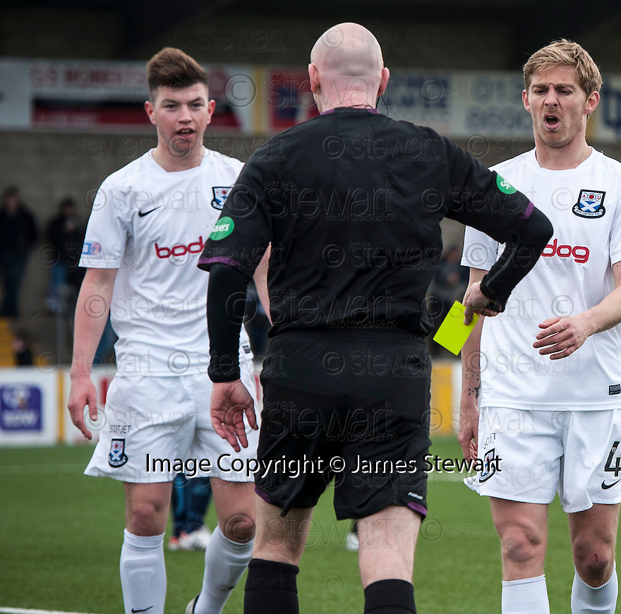 Ayr Utd's Darren Brownlie gets his second yellow and is sent off after pulling down Forfar's Chris Templeman for Forfar's penalty.