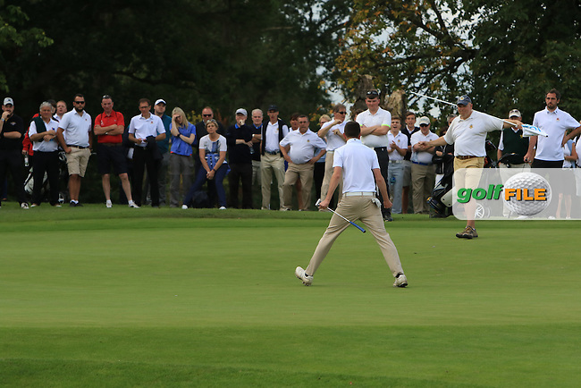 Tommy Smyth (Castle) on the 17th green putts to win the Final of the AIG Junior Cup Final at Carton House Golf Club on  Thursday 15/09/16.<br /> Picture: Thos Caffrey | Golffile<br /> <br /> All photos usage must carry mandatory copyright credit   (&copy; Golffile | Thos Caffrey)