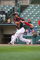Rochester Red Wings shortstop Wilfredo Tovar (4) bats against the Scranton Wilkes-Barre Railriders on May 1, 2016 at Frontier Field in Rochester, New York. Red Wings won 1-0.  (Christopher Cecere/Four Seam Images)