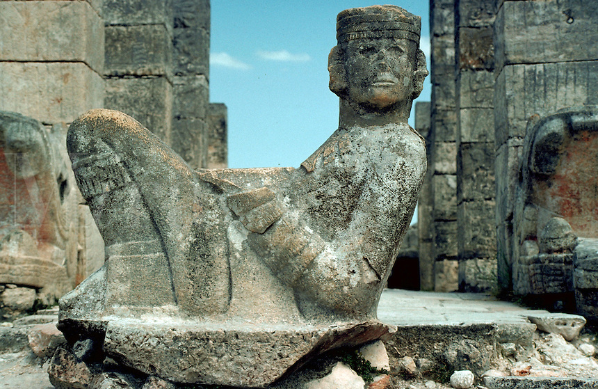Statue of Chac-Mool at the Temple of Warriors at the Mayan ruins of Chichen Itza. Yucatan, Mexico.