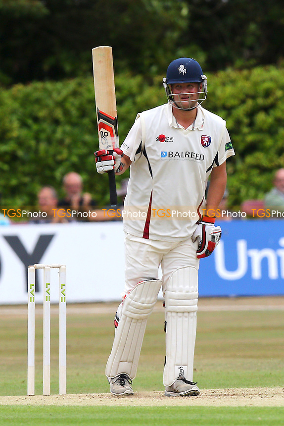 Rob Key of Kent CCC celebrates scoring a half-century, 50 runs