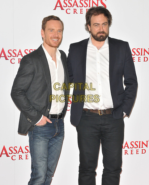 Michael Fassbender and Justin Kurzel at the &quot;Assassin's Creed&quot; film photocall, Claridge's  Hotel, Brook Street, London, England, UK, on Thursday 08 December 2016. <br /> CAP/CAN<br /> &copy;CAN/Capital Pictures