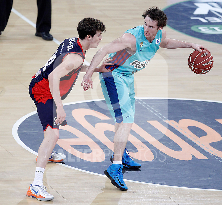 Caja Laboral Baskonia's Thomas Heurtel (l) and FC Barcelona Regal's Marcelinho Huertas during Spanish Basketball King's Cup semifinal match.February 07,2013. (ALTERPHOTOS/Acero)