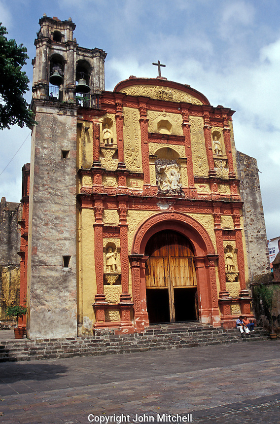 The baroque-style facade of Templo de Tercera Orden de San Francisco in Cuernavaca, Morelos, Mexico