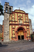 The baroque-style facade of Templo de Tercera Orden de San Francisco in Cuernavaca, Morelos, Mexico