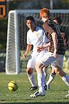 Palos Verdes, CA 02/09/12 - Nobu Nakagawa (Peninsula #18) in action during the West vs Peninsula Bay League boys varsity soccer game.