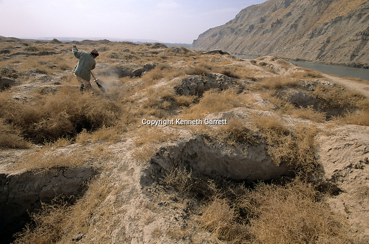 Ai Khanum, on the Amu Daryu river, Looters' holes; city founded in 4th century BC, Alexander the Great, Kunduz area, Afghanistan