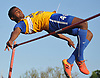 Nathaniel Francis of Roosevelt looks clear the bar in the boys' high jump during the Nassau County AA track & field championship at MacArthur High School on Wednesday, May 23, 2018. He won the event with a successful clear a 6'6.