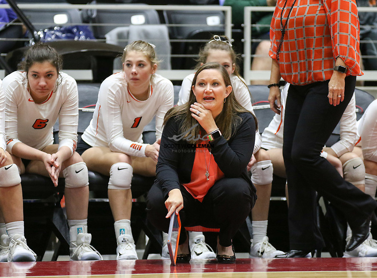 Aledo Bearcats head coach Claire Gay during a Class 5A girls high school semifinal volleyball game between Rouse High School and Aledo High School at Curtis Culwell Center in Garland, Texas, on November 17, 2017. Rouse swept Aledo (25-17, 27-25, 25-18) to advance to the finals.