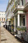 Typical Georgian large terraced row family house. Painted colourfully. Chalcot Sq Square Primrose Hill London NW1 Uk 2008