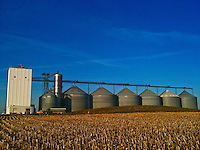 Farm grain elevators against blue sky with poultry barn.  iPhone photo. Manipulated with app.
