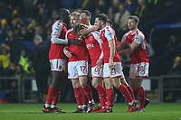 Conor McAleny of Fleetwood Town (3rd left) celebrates with team matesafter he scores the opening goal of the game during the Sky Bet League 1 match between Oxford United and Fleetwood Town at the Kassam Stadium, Oxford, England on 10 April 2018. Photo by David Horn.