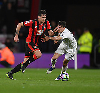 Swansea City's Jack Cork (R) tackles Bournemouth's Charlie Daniels (R)<br /> <br /> Bournemouth 2 - 0 Swansea<br /> <br /> Photographer David Horton/CameraSport<br /> <br /> The Premier League - Bournemouth v Swansea City - Saturday 18th March 2017 - Vitality Stadium - Bournemouth<br /> <br /> World Copyright &copy; 2017 CameraSport. All rights reserved. 43 Linden Ave. Countesthorpe. Leicester. England. LE8 5PG - Tel: +44 (0) 116 277 4147 - admin@camerasport.com - www.camerasport.com