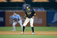 Ji-Hwan Bae (51) of the Ocelotes de Greensboro takes his lead off of second base against the Hickory Crawdads at First National Bank Field on June 11, 2019 in Greensboro, North Carolina. The Crawdads defeated the Ocelotes 2-1. (Brian Westerholt/Four Seam Images)