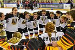 09.01.2020, BLZ Arena, Füssen / Fuessen, GER, IIHF Ice Hockey U18 Women's World Championship DIV I Group A, <br /> Siegerehrung, <br /> im Bild das deutsche Team feiert seinen Erfolg, Jubelgesang<br /> <br /> <br /> <br /> Foto © nordphoto / Hafner