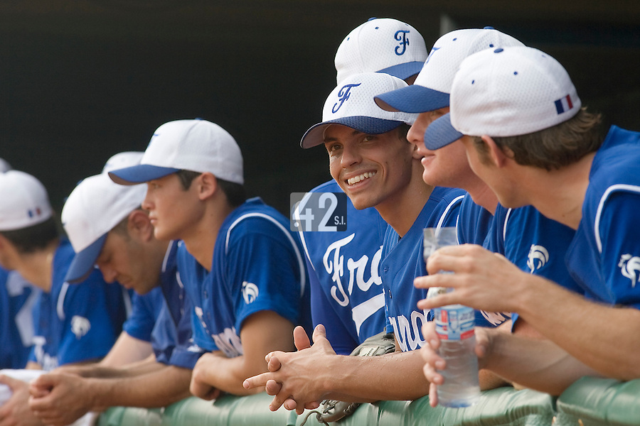 18 August 2007: Team France is seen in the dugout prior to the China 5-1 victory over France in the Good Luck Beijing International baseball tournament (olympic test event) at the Wukesong Baseball Field in Beijing, China.
