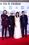 (L-R) Asier Etxeandia, Pedro Almodovar, Penelope Cruz and Antonio Banderas attend the movie premiere of 'Dolor y gloria' in Capitol Cinema, Madrid 13th March 2019. (ALTERPHOTOS/Alconada)
